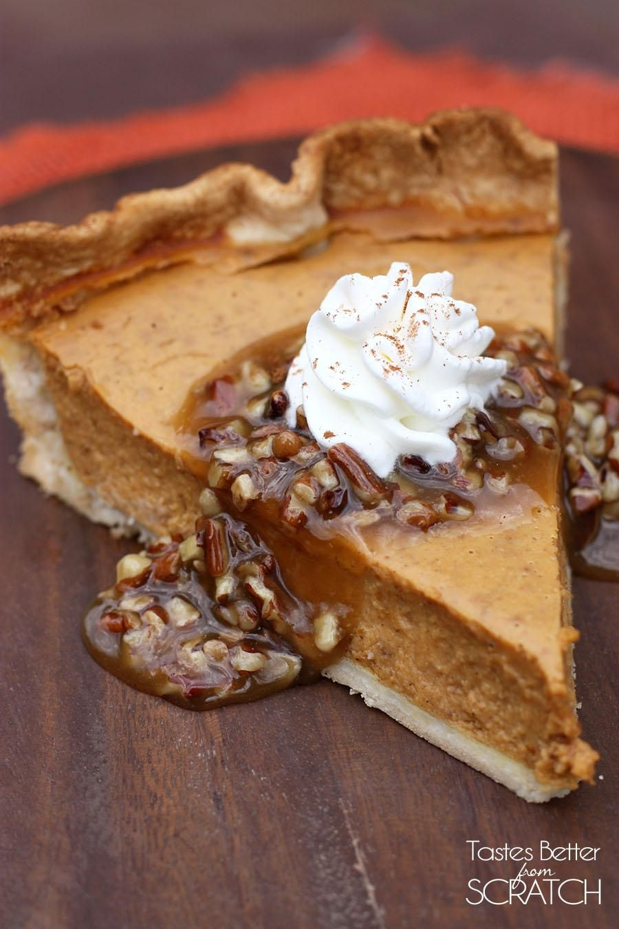 Pumpkin Pie with Pecan-Caramel Topping