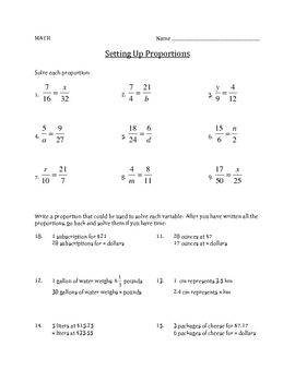 Setting up Proportions - Math Worksheet | Math: Ratios & Proportions ...
