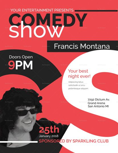 Comedy Show Flyer Template  Design Flyer Templates