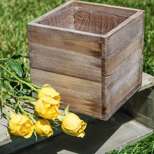 5x5 Wooden Box Rustic Wood Box Wood Box Centerpiece Wood Planters