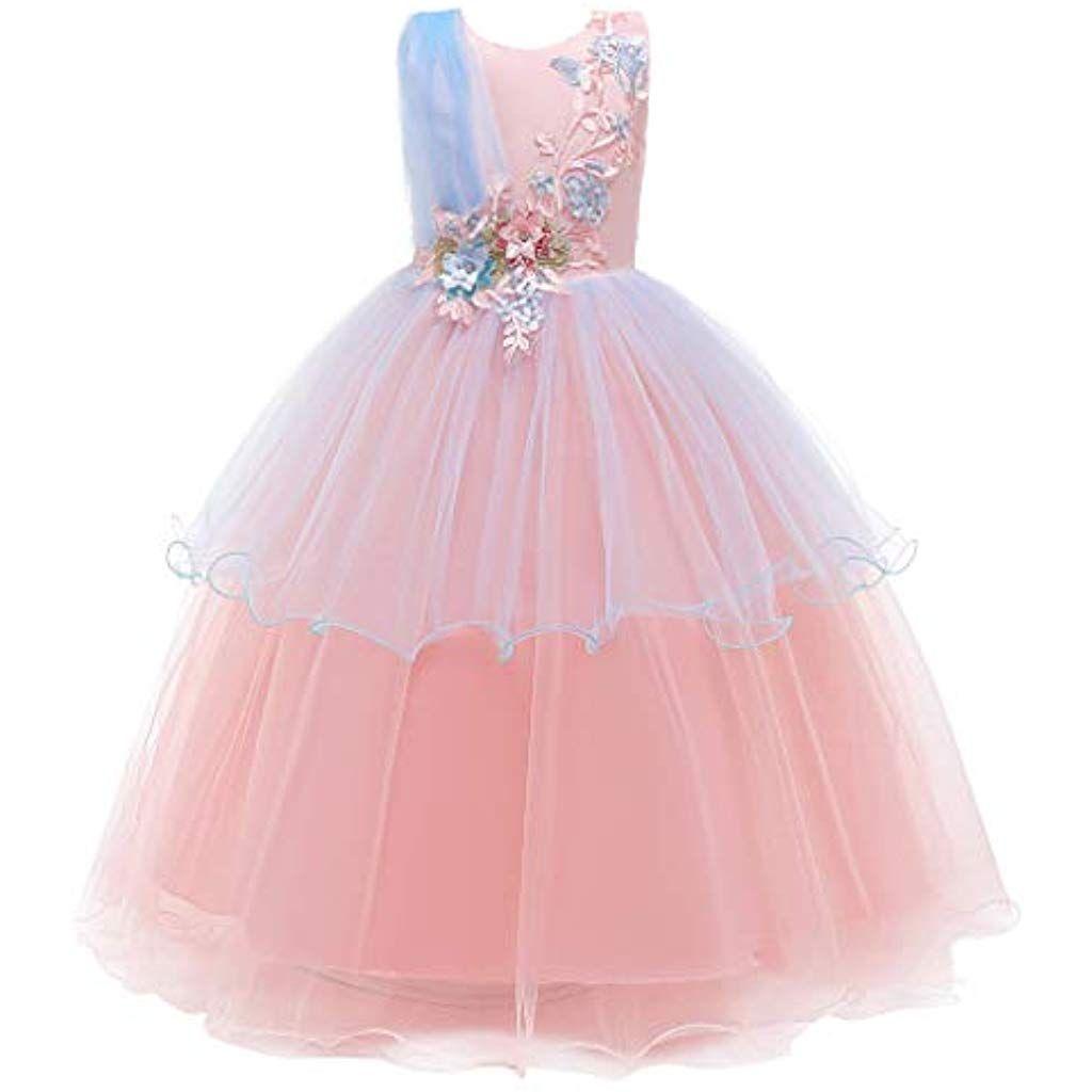 NEW Kids Bambino per neonate Dress Estate senza maniche partito abito da principessa Pageant