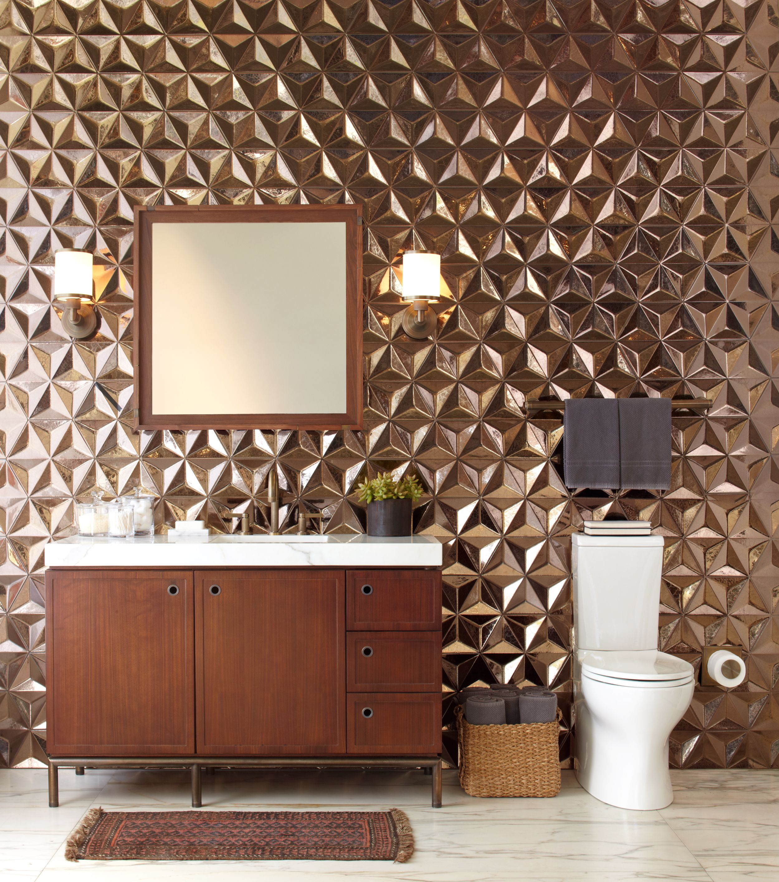 Ann Sacks Ogassian 12 Japanese Geo Ceramic Field In Metallic Antique Gold With Kallista Kelly Plumbing Vir Stil 1 Modern Bathroom Ann Sacks Tiles Bath Trends