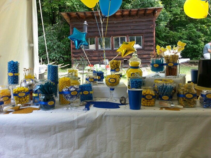 blue and yellow graduation party candy buffet so much fun to create