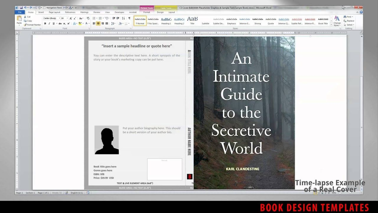 Print Book Cover Template For Word Preview inside 6X9