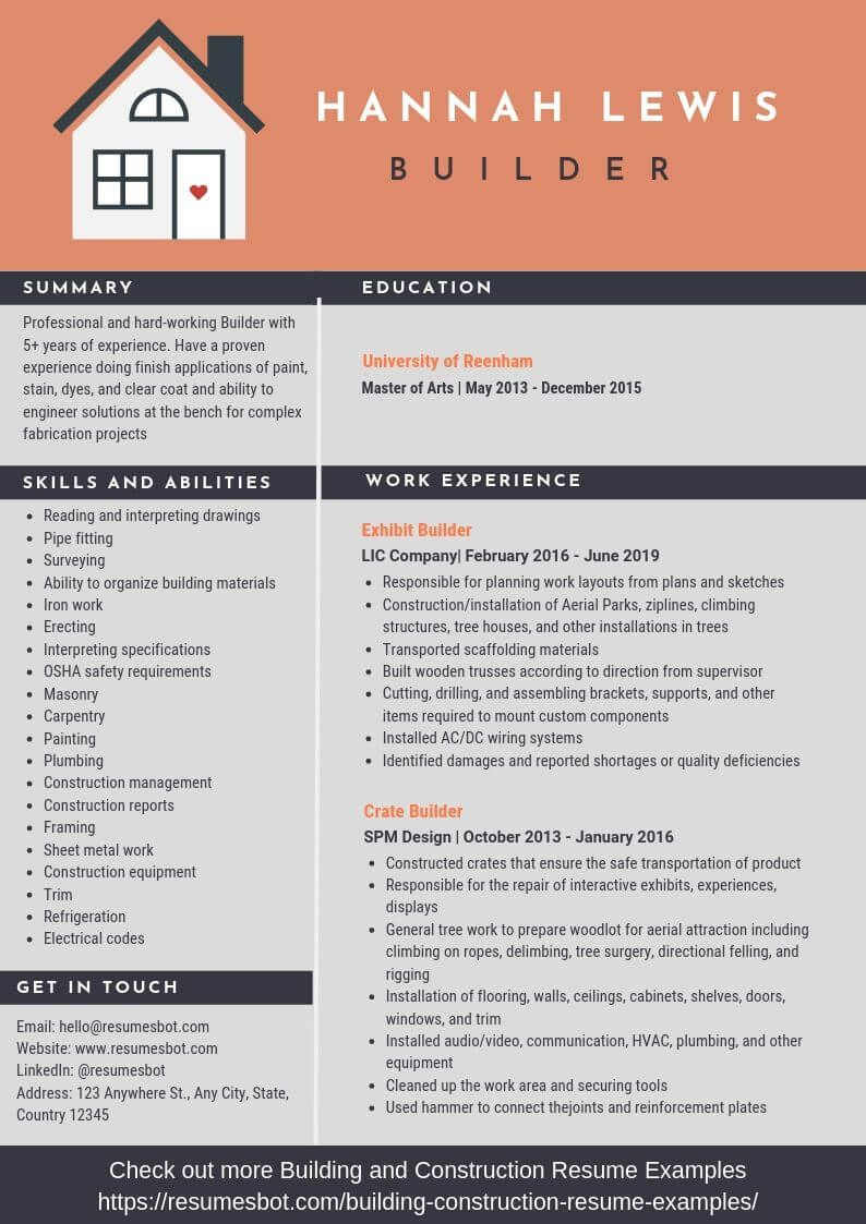 Builder Resume Samples Templates Pdf Doc 2021 Builder Resumes Bot Resume Template Examples Resume Examples Indesign Resume Template