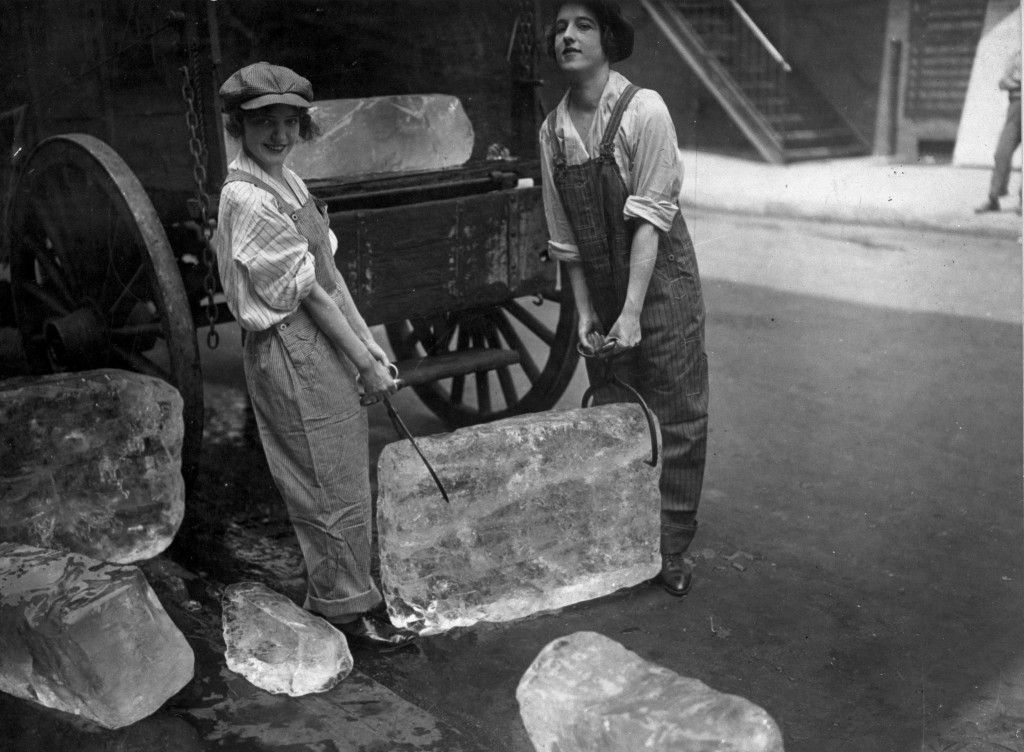 Young women delivering ice, 1918  - jobs that are left