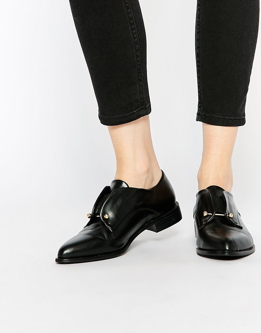 Buy Women Shoes / Lost Ink Black Bar Detail Flat Shoes