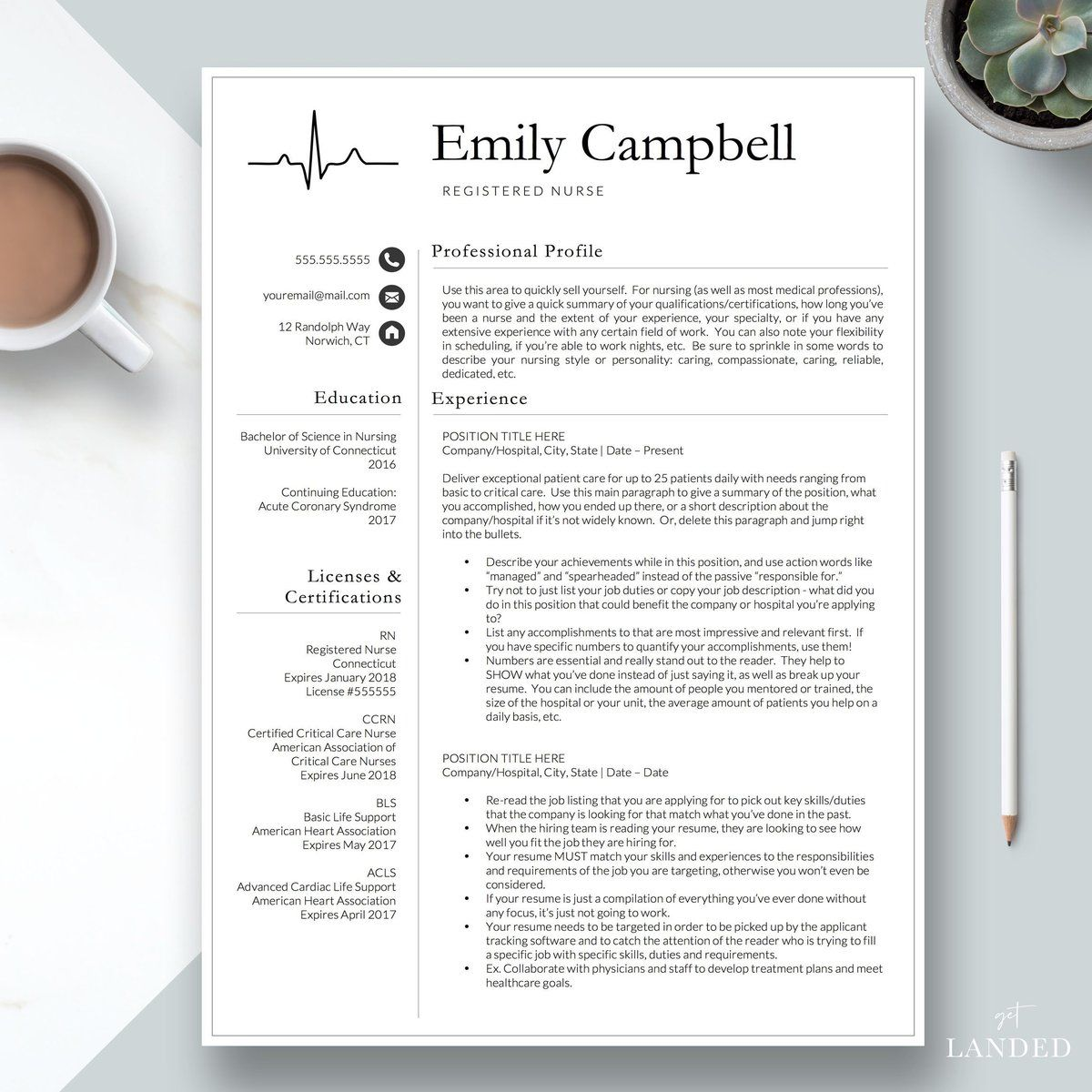 nurse resume template    cv for nursing student  nursing graduation  medical assistant