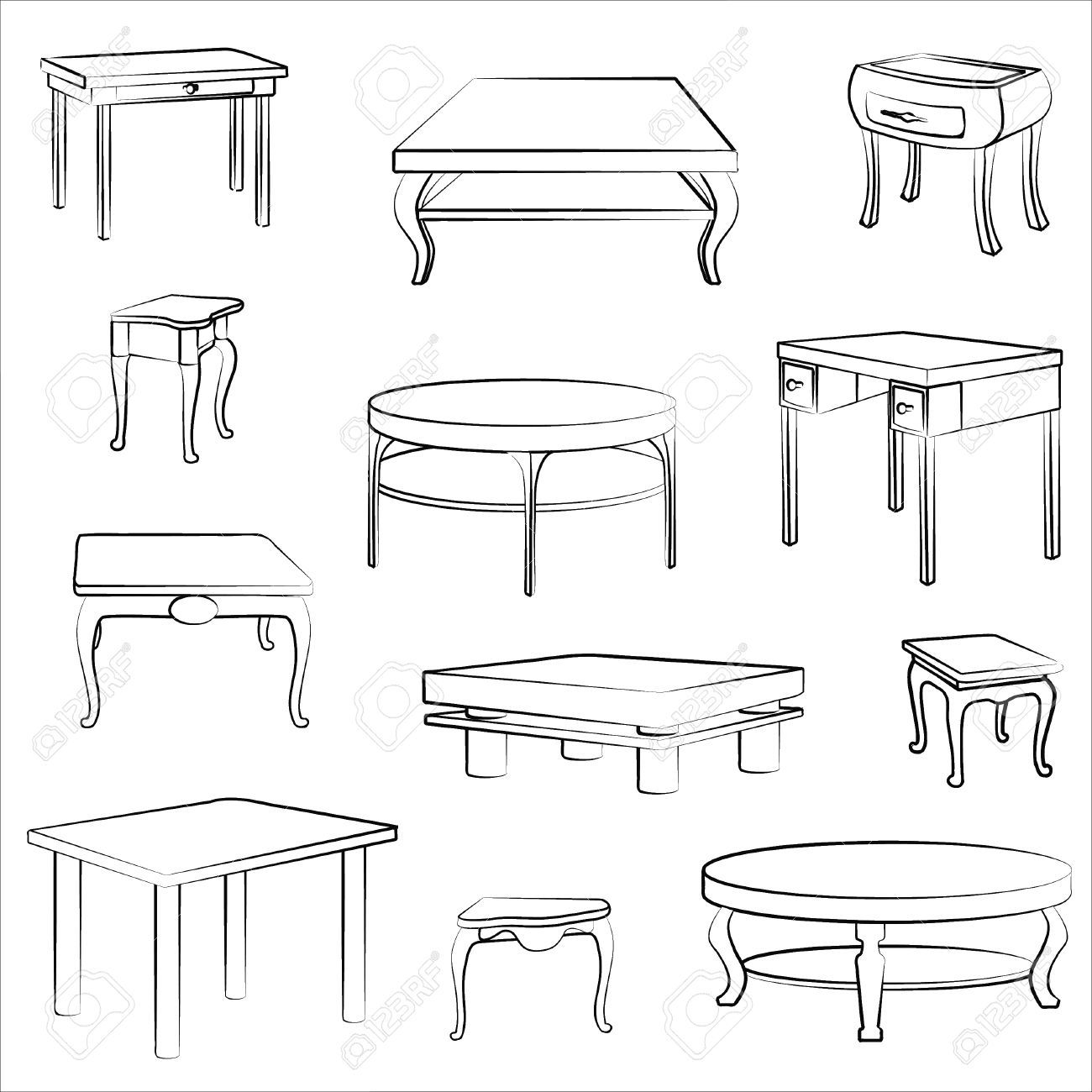 Furniture Set Interior Detail Outline Collectionof Different Interior Design Sketches Drawing Furniture Interior Design Drawings