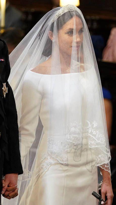 Meghan Markle S Wedding Style The Duchess Of Sussex S Borrowed Tiara Still Sparkles Under Her V Meghan Markle Wedding Dress Royal Wedding Gowns Reception Dress