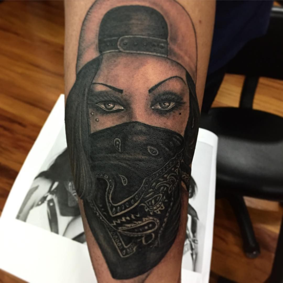 Tattoo Of Gangster Women Girl Gangster Tattoo On Instagram Gangster Tattoos Gangsta Tattoos Skull Girl Tattoo