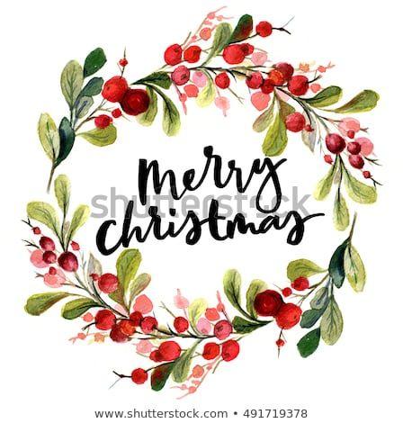 Photo of Стоковая иллюстрация «Рождественская открытка. Акварельная живопись с ручной», 491719378