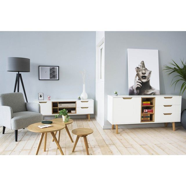 Buffet design blanc et chêne 150cm Sleek DRAWER Ideas for the - Renovation Meuble En Chene