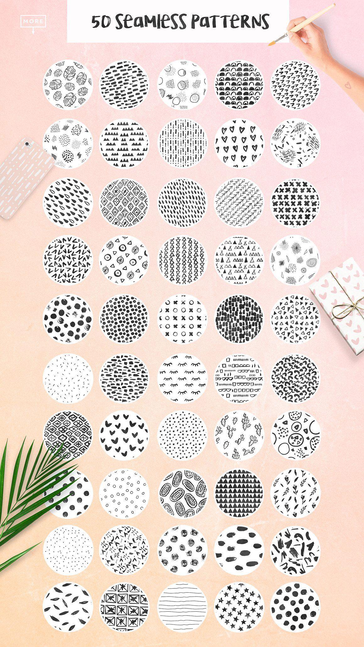 50 Trendy Seamless Patterns Seamless Patterns Pattern Hand