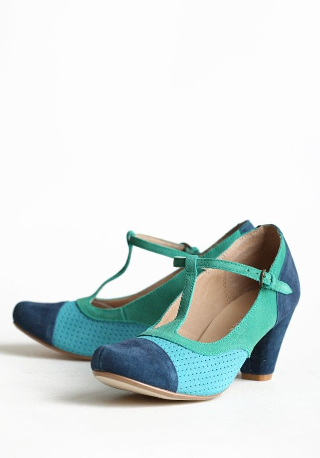 """Malibu Suede Heels By Chelsea Crew 79.99 at shopruche.com. These charming heels in faux suede are perfected with colorblocked panels in blue, turquoise, and green. Adjustable ankle strap.  2.5"""" heel, Slightly padded footbed"""