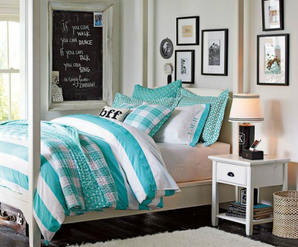Cool Girls Bedroom Ideas Decorations: Aquamarine White Teen Girls Bedding  Ideas Black Frame Wall Pictures