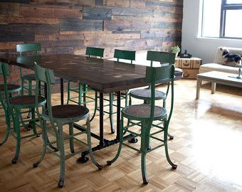 Industrial Style Dining Table  Industrial Black Pipe Base  Solid Delectable Industrial Style Dining Room Tables Inspiration