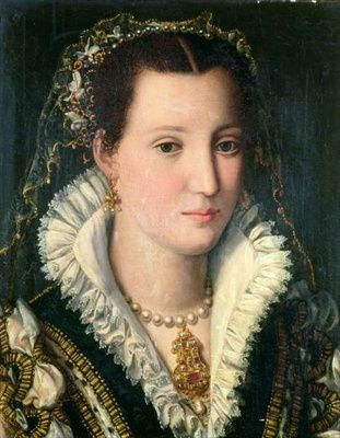 Portrait of a Lady (oil on panel), Allori, Alessandro (1535-1607) (circle of) / Private Collection / Photo © Bonhams, London, UK Fabulous jewel and killer veil edging and hair ornaments. And lace edging on the silly ruff/collar thing! #BirkaJackets: