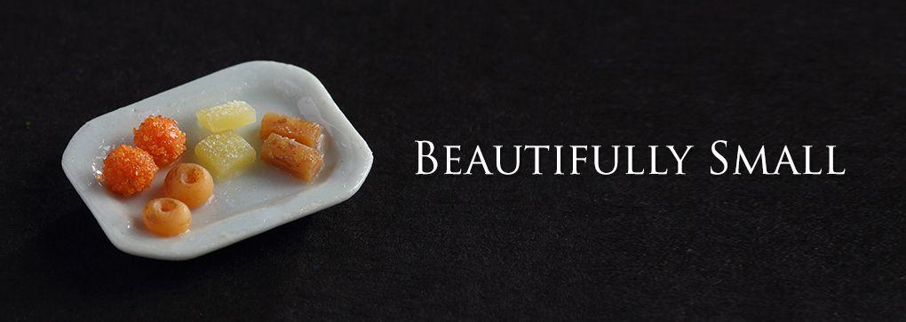 Miniature Indian sweets. For more miniature food, visit - www.charmingminiatures.com