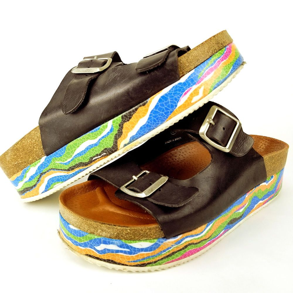 a152cd4ce5 SixtySeven 67 Platform Black Cara Sandals Mutlicolor White Sole Size US 9  EUR 40 #Sixtyseven #PlatformsWedges