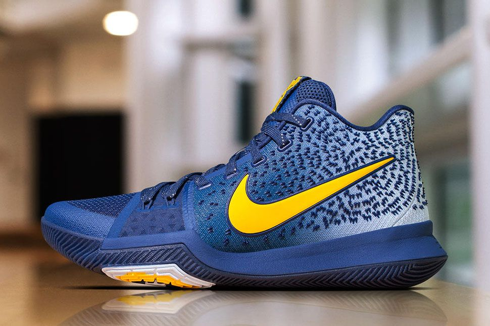 Kyrie Irving gets another Kyrie 3 PE, this time to match the Cavaliers'  Alternate navy uniforms featuring a gradient upper and yellow branding.