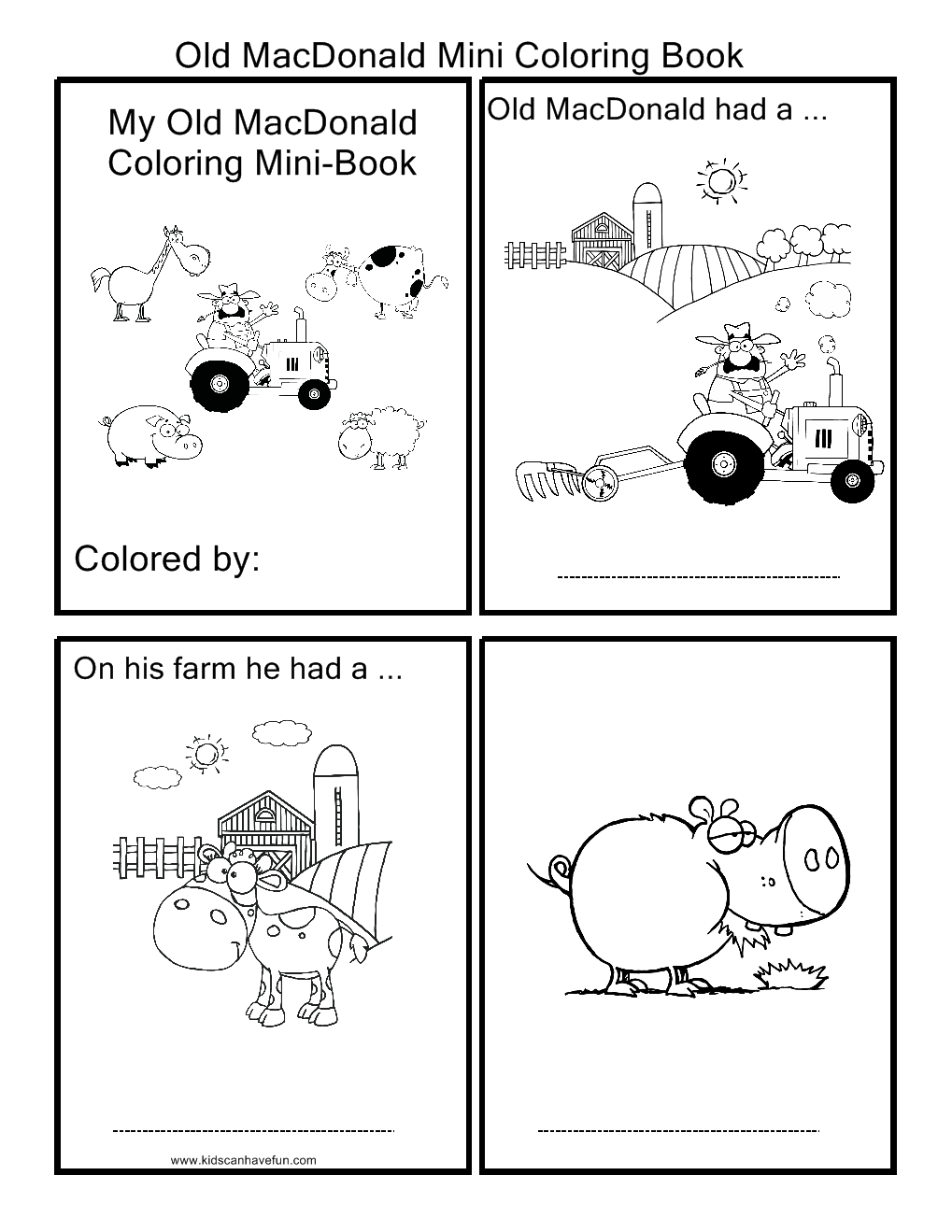 Old Macdonald Coloring Pages English For Kids Pinterest