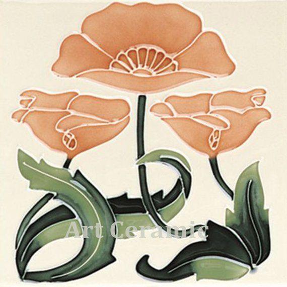 Art Nouveau Reproduction decorative Ceramic tile 4.25 X 4.25 or 6 x 6 Inches 45