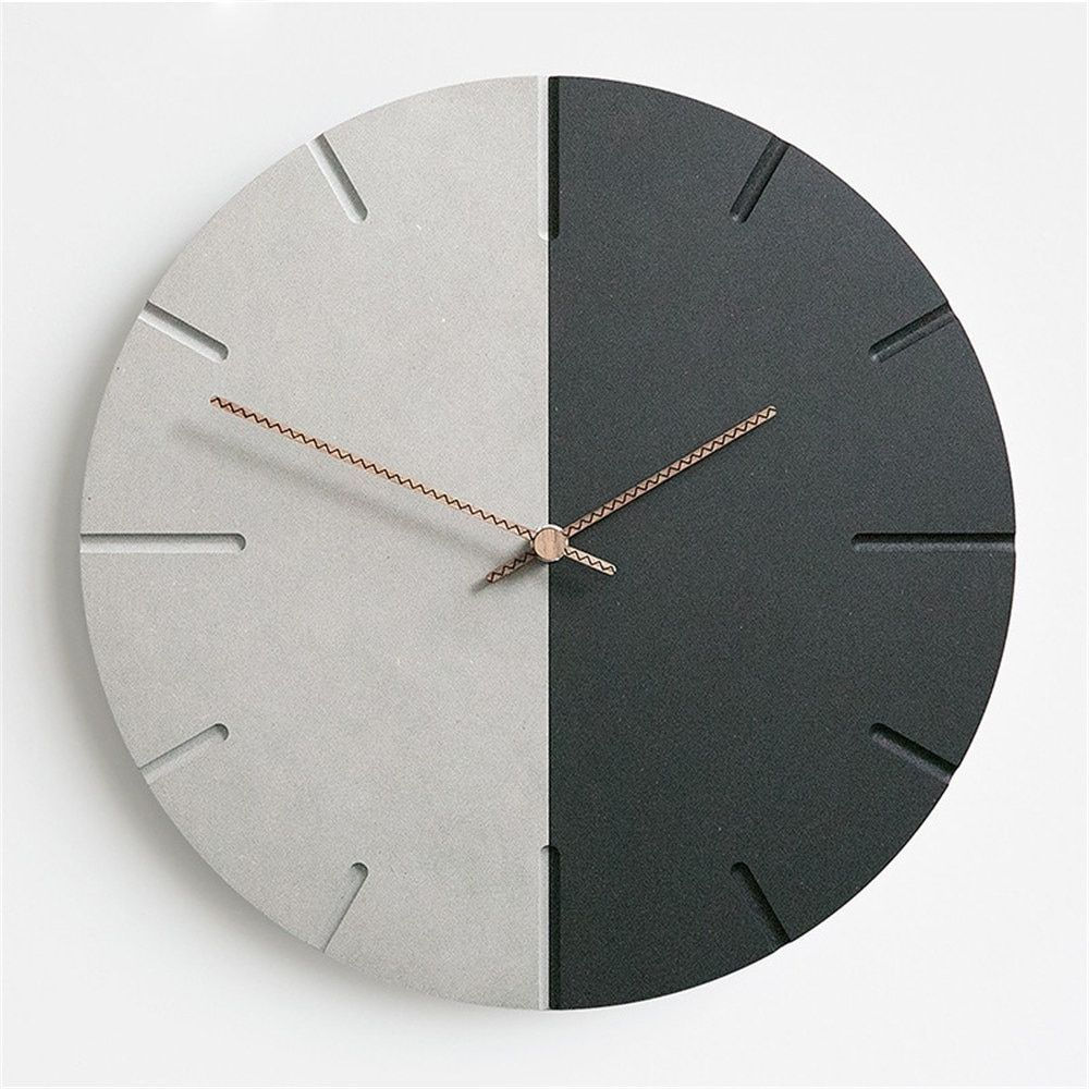 Modern Mdf Board Wall Clock Nordic Round Minimalist Fashion Retro Gray Black Artistic Silently Suzuki Clock For Caf Diy Clock Wall Wall Clock Design Wall Clock