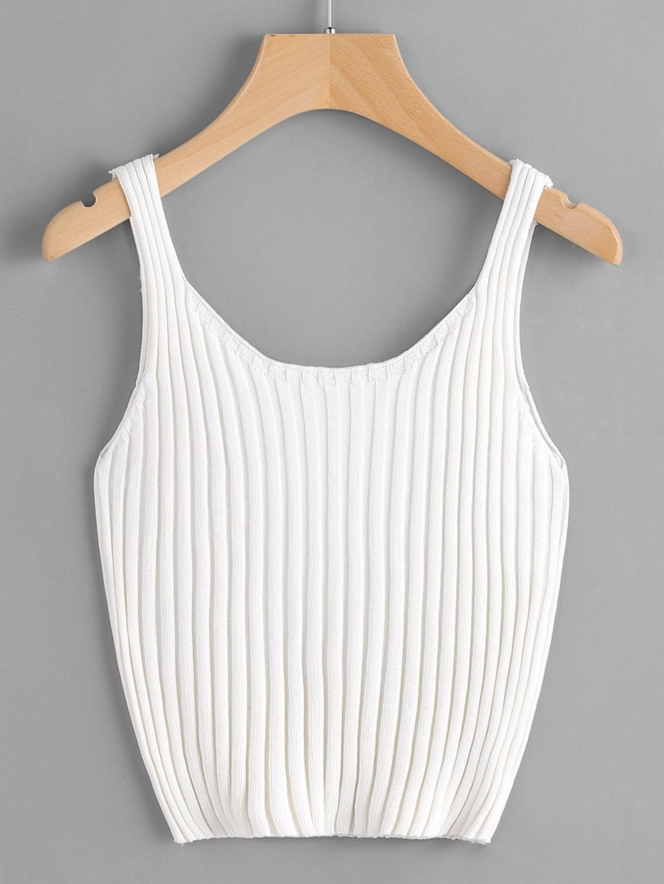 7c54005192707 Ribbed Knit Crop Tank Top