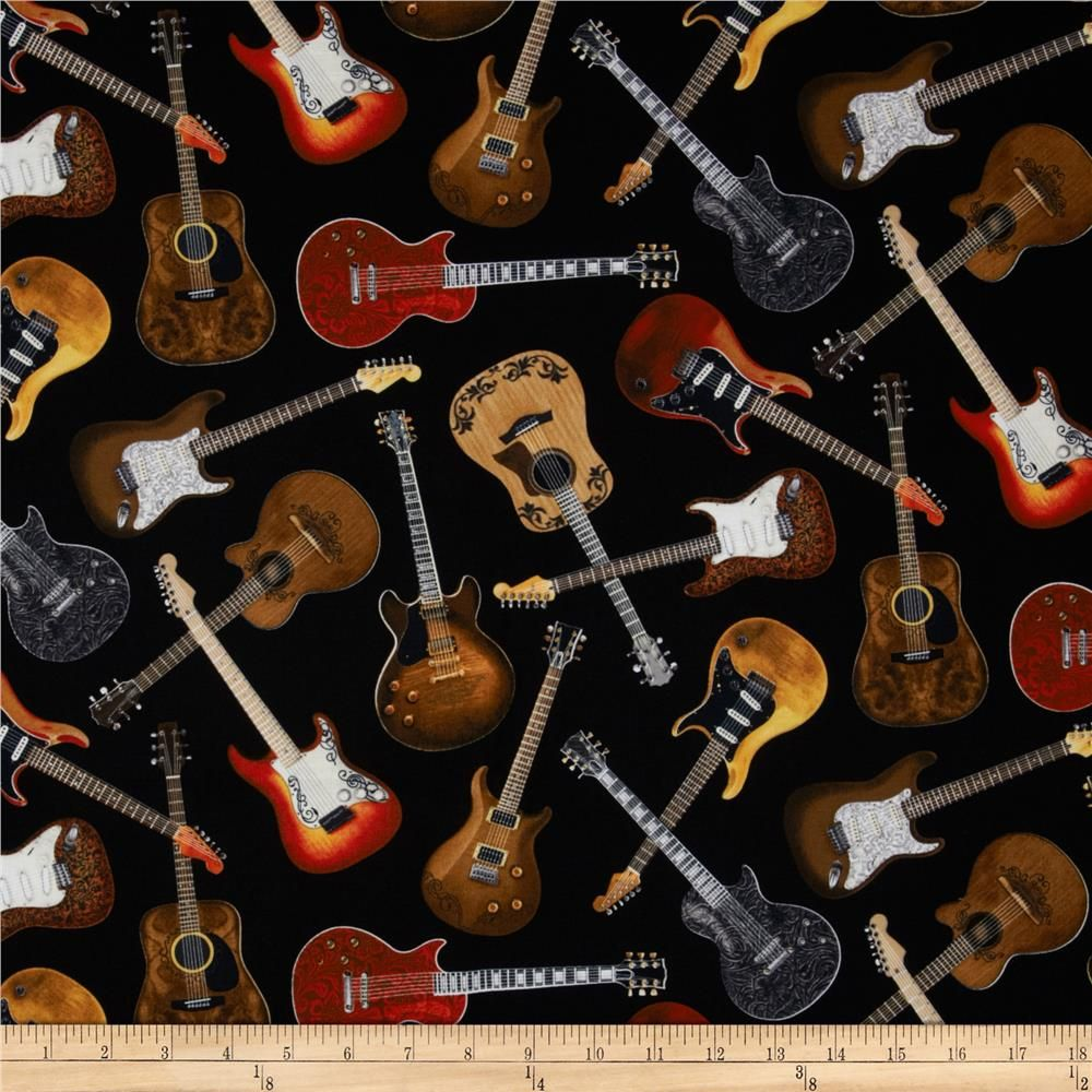Timeless Treasures Guitars Black from @fabricdotcom  From Timeless Treasures, this fabric is perfect for quilting, craft projects, apparel and home decor accents. Colors include black, brown, tan, white, and grey.