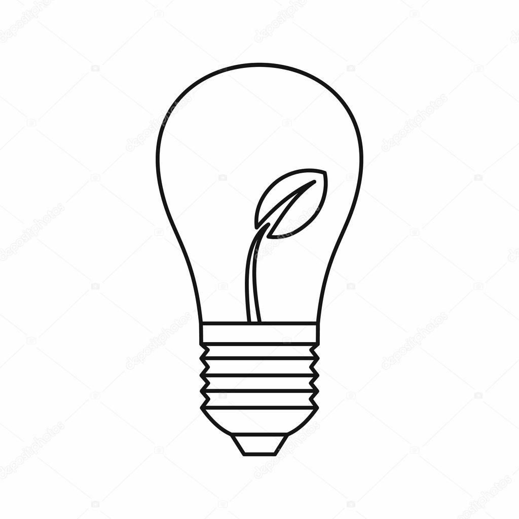 Download Light Bulb With Sprout Icon Outline Style Stock Illustration