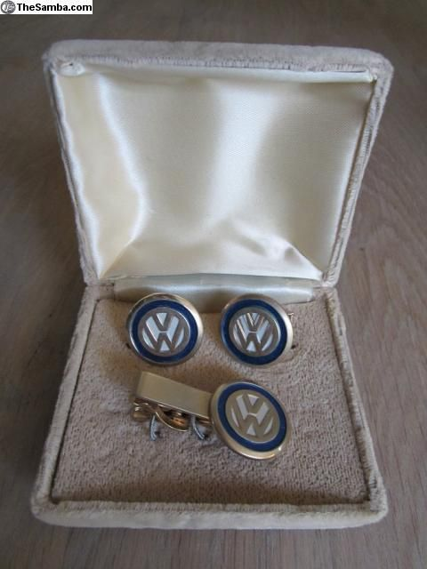 Vintage VW Logo Cufflinks and Tie pin. My gift to my vw loving hub on our wedding day.