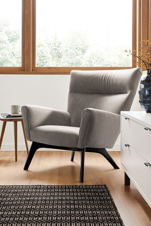 Room Board Boden Leather Chair Ottoman Modern Accent
