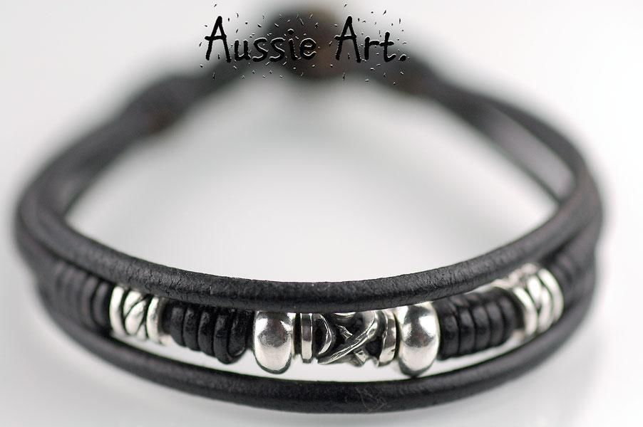 1N-320 Aussie Made Tigers Eye Sterling Silver & Leather New Choker Men Necklace.
