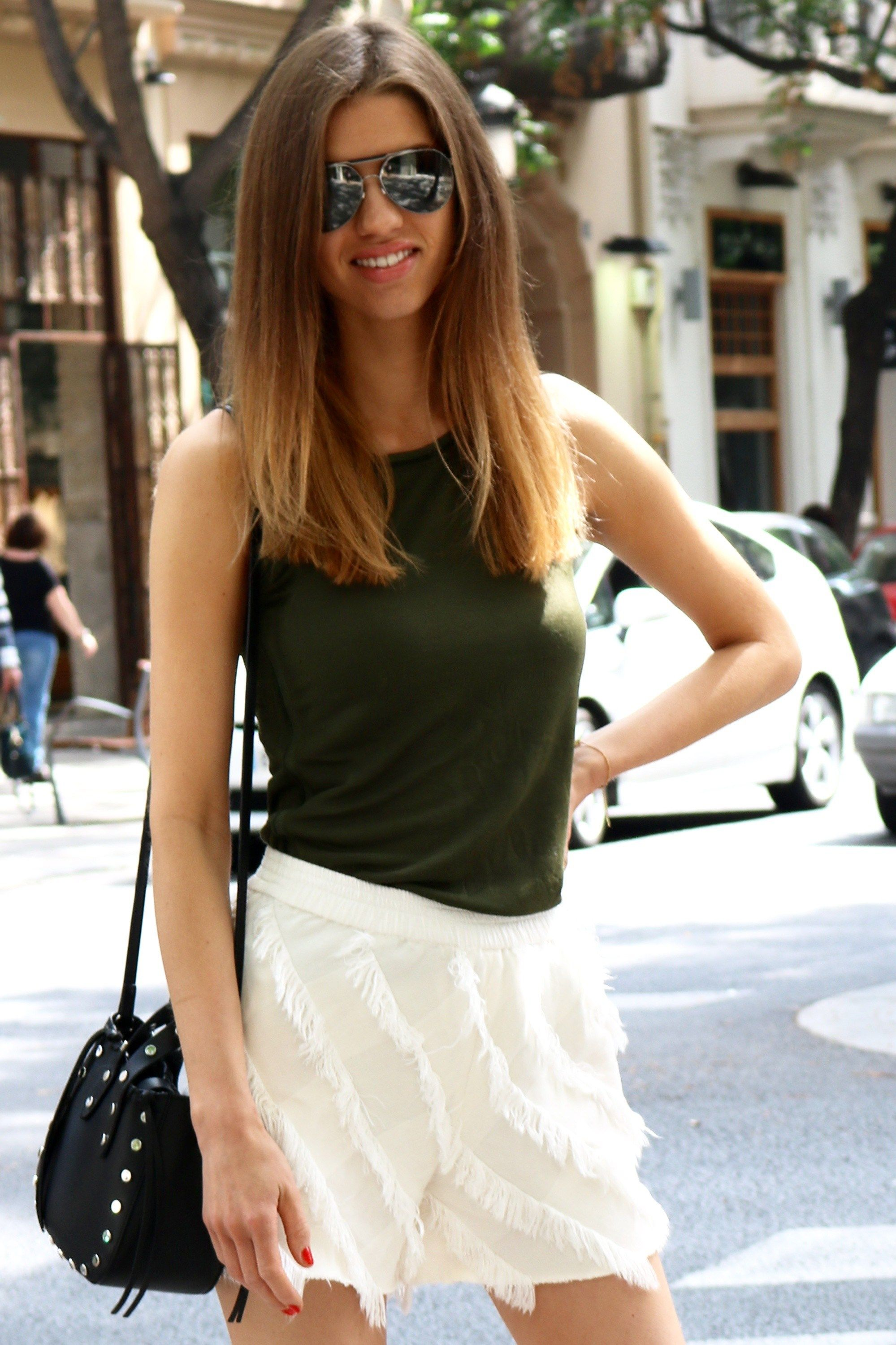 FASHION SHOULD BE FUN #ootd - wearing #white frayed shorts and #khkai tank from Sandro Paris! more here - http://www.theblogness.com/fashion-should-be-fun/