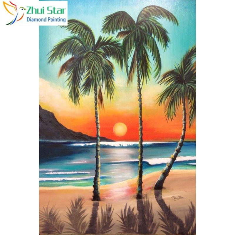 Diy Diamond Painting Coconut Tree Sunset In 2019 Beach Paintings