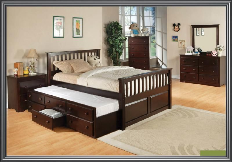 Full Size Bed With Twin Pull Out And Storage Perfect For Small