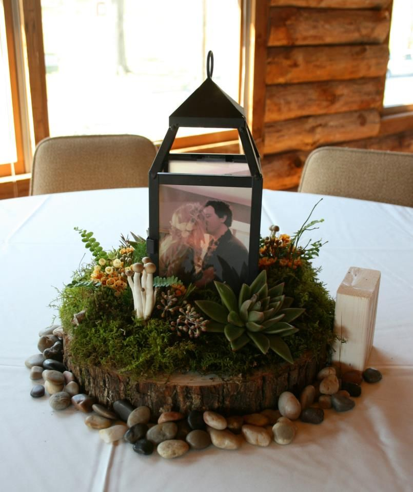 Rustic Wedding Centerpiece With Mushrooms, Moss