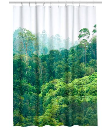 Shower Curtain In Water Repellent Polyester With A Printed Photographic Design And Metal Grommets At Top Rings Sold Separately
