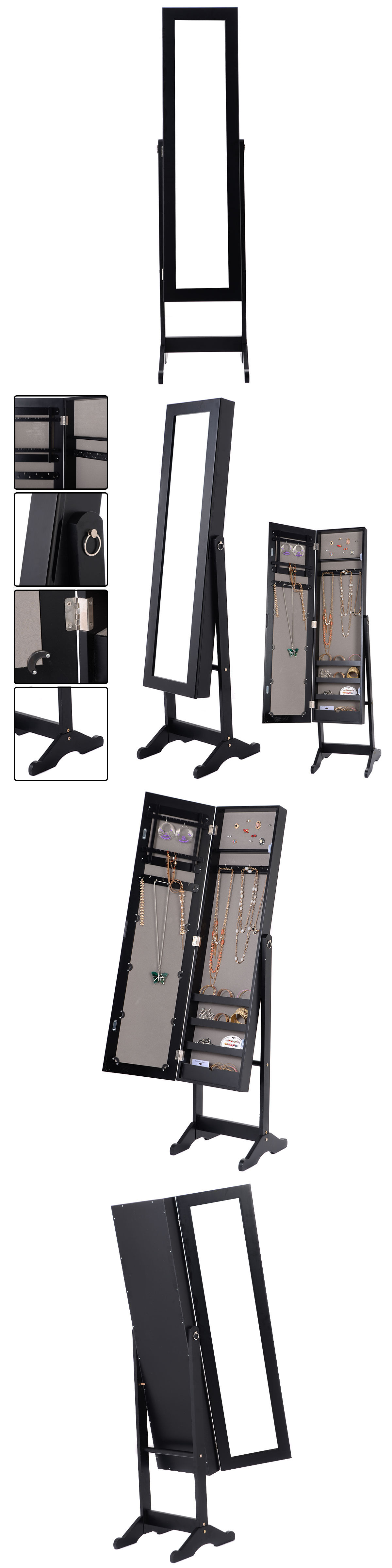 Jewelry Boxes 3820 Mirrored Jewelry Cabinet Armoire Mirror