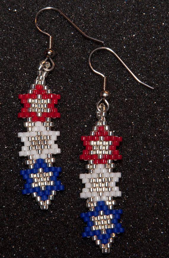Patriotic Stars Earrings Brick Stitch Earrings Seed Bead