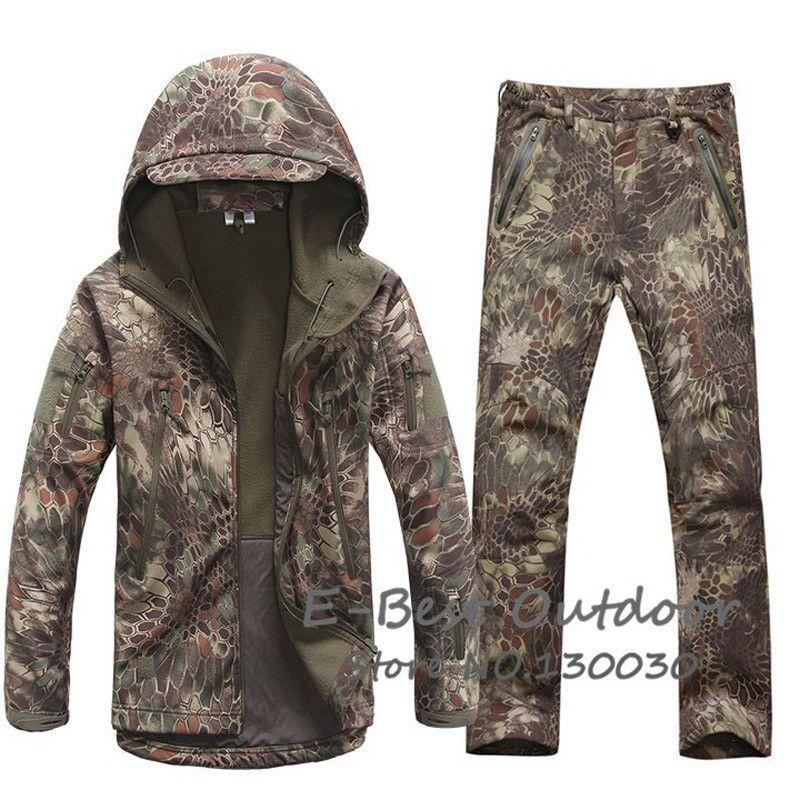 Waterproof Softshell Outdoor Jacket Suit Men Camo Military