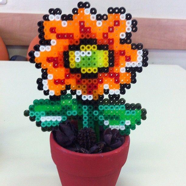 Flower pot perler beads by Efrat Kuvent