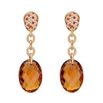 """Betteridge Collection Oval Citrine Drop Earrings with Pavé Diamond & Sapphire Tops  Oval-shaped, faceted citrine chain drop earrings in 18k pink gold with pavé diamond and reddish-orange sapphire tops. 76 round-cut diamonds weighing 1.02 total carats and 22 round-cut sapphires weighing 0.50 total carats. With omega-style clip and post backs (for pierced ears). Handcrafted in Italy. 2.25"""" length.        Price: $3,750"""