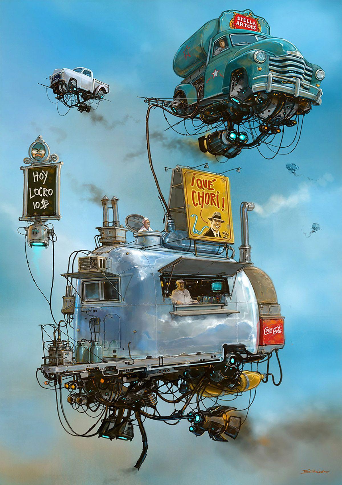 Flying Car Illustrations by Alejandro Burdisio – Inspiration Grid   Design Inspiration #illustration #illustrationinspiration #drawing #conceptart #flyingcars #retrofuturistic #inspirationgrid