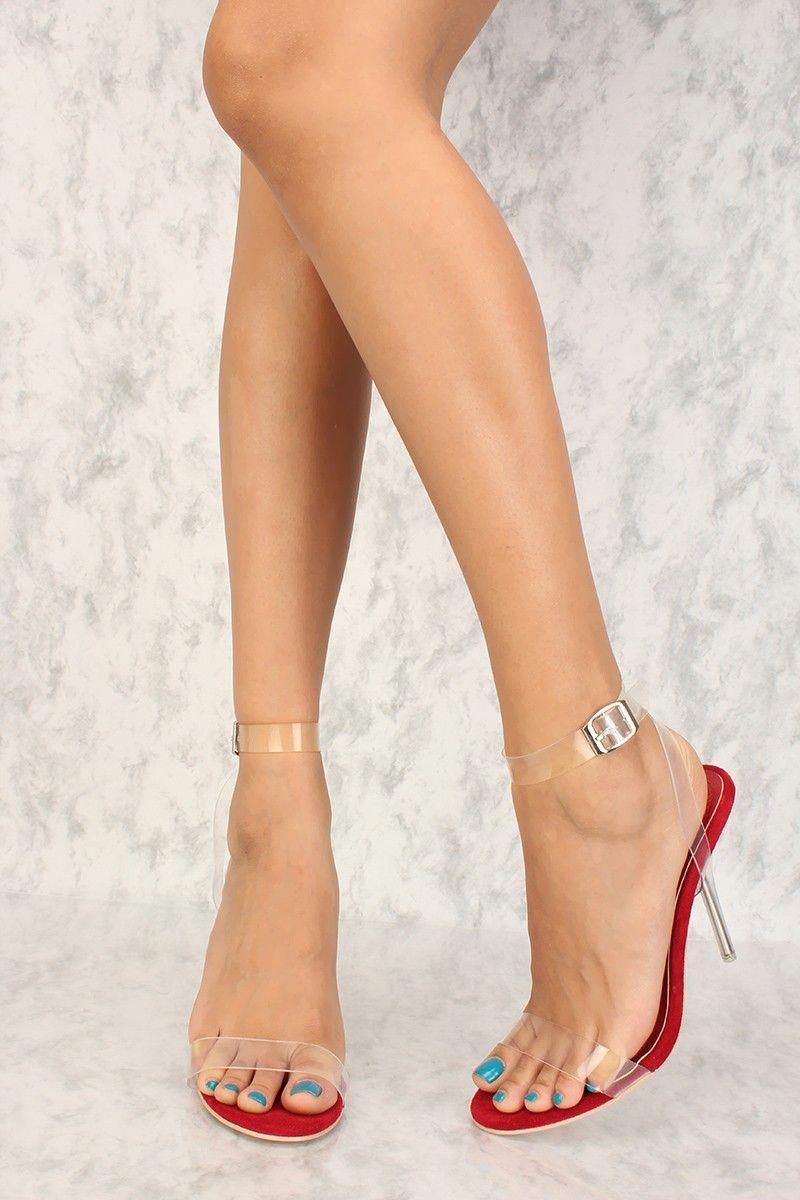 e17fc46898f Sexy Red Suede Clear Strap Single Sole High Heels  Hothighheels ...