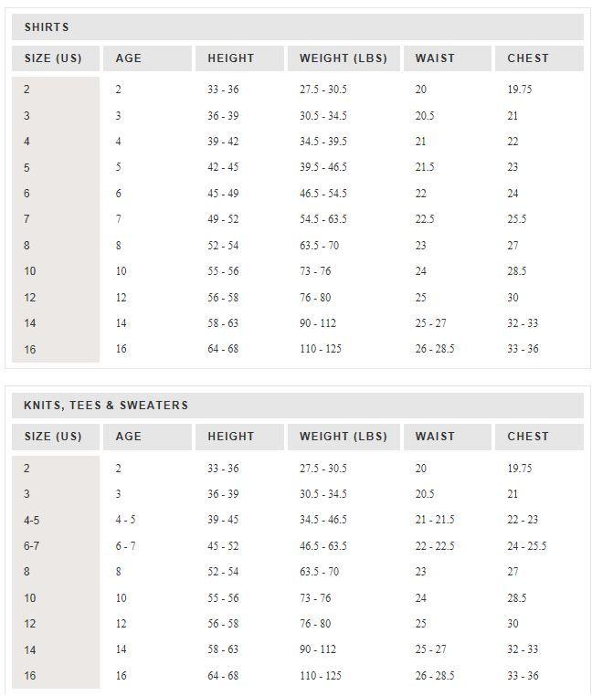 J crew girls size chart knitting and crochet pinterest chart