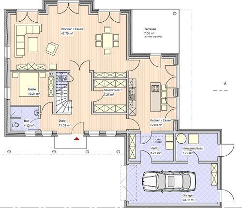 Dadurch kann das Haus selbst breiter geplant werden Haus