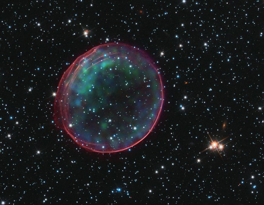 Dear Great Observatories: Don't ever stop sending these beautiful images home of our universe in all its diverse wonder. This optical/X-ray composite of supernova remnant SNR 0509-67.5 is a delicate bubble tracing a shockwave of excited gas, and too pretty for words.