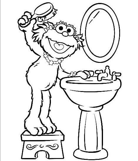Zoe Brushing Her Hair Sesame Street Coloring Page   imag   Pinterest ...